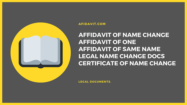 Affidavit of Name Change - Name Change Affidavit - Name