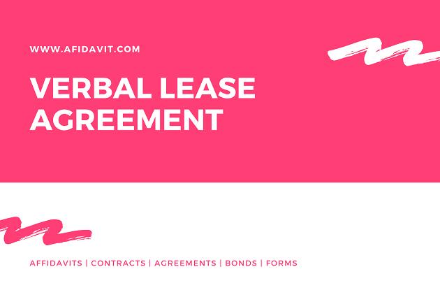 Verbal Lease Agreement Verbal Agreements Verbal Contract Afidavit