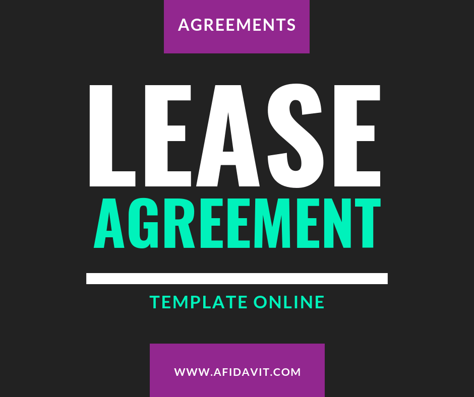 One Page Lease Agreement Template Sample Example Afidavit