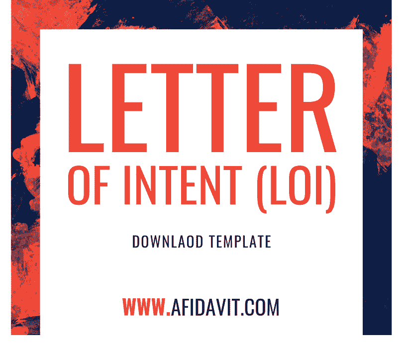 Letter Of Intent Loi Template Example Sample Affidavit