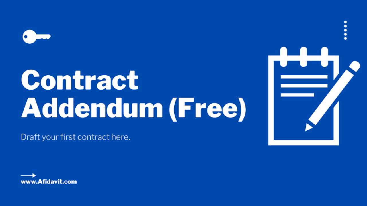Contract Addendum Contract Addendum Template Contract Addendum Format Contract Addendum Form Affidavit
